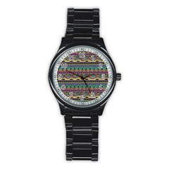 Aztec Pattern Cool Colors Stainless Steel Round Watch by BangZart