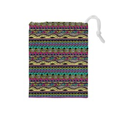 Aztec Pattern Cool Colors Drawstring Pouches (medium)  by BangZart