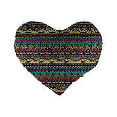 Aztec Pattern Cool Colors Standard 16  Premium Flano Heart Shape Cushions by BangZart