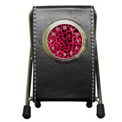 Leopard Skin Pen Holder Desk Clocks by BangZart