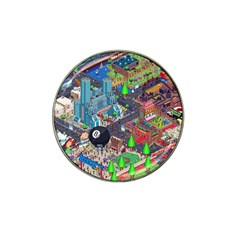 Pixel Art City Hat Clip Ball Marker by BangZart
