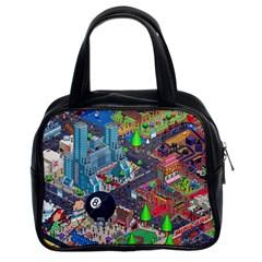 Pixel Art City Classic Handbags (2 Sides) by BangZart