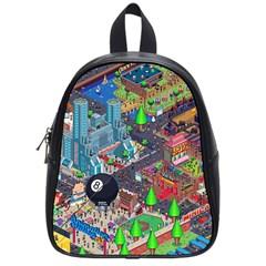 Pixel Art City School Bags (small)  by BangZart
