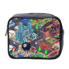 Pixel Art City Mini Toiletries Bag 2 Side by BangZart