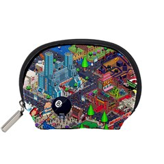 Pixel Art City Accessory Pouches (small)  by BangZart