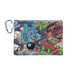 Pixel Art City Canvas Cosmetic Bag (m) by BangZart