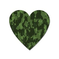 Camouflage Green Army Texture Heart Magnet by BangZart