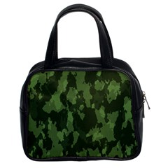 Camouflage Green Army Texture Classic Handbags (2 Sides) by BangZart
