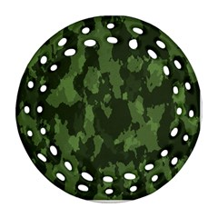 Camouflage Green Army Texture Round Filigree Ornament (two Sides) by BangZart