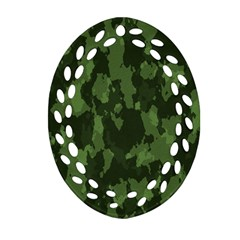 Camouflage Green Army Texture Ornament (oval Filigree) by BangZart