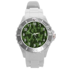 Camouflage Green Army Texture Round Plastic Sport Watch (l) by BangZart