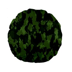 Camouflage Green Army Texture Standard 15  Premium Flano Round Cushions by BangZart