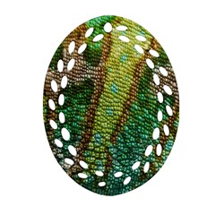 Chameleon Skin Texture Oval Filigree Ornament (two Sides) by BangZart