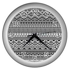 Aztec Pattern Design Wall Clocks (silver)  by BangZart