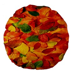 Leaves Texture Large 18  Premium Flano Round Cushions by BangZart