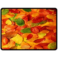 Leaves Texture Fleece Blanket (large)  by BangZart