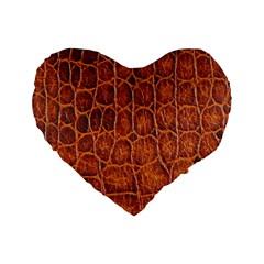 Crocodile Skin Texture Standard 16  Premium Flano Heart Shape Cushions by BangZart