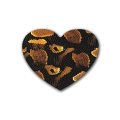 Gold Snake Skin Rubber Coaster (heart)  by BangZart