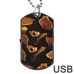 Gold Snake Skin Dog Tag Usb Flash (two Sides) by BangZart