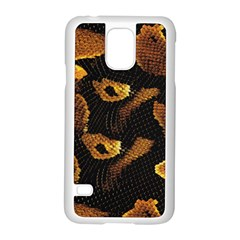 Gold Snake Skin Samsung Galaxy S5 Case (white) by BangZart