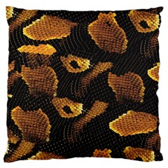 Gold Snake Skin Large Flano Cushion Case (two Sides) by BangZart