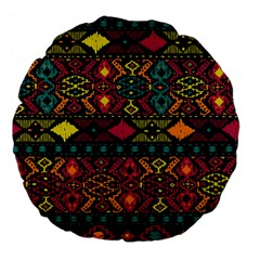 Bohemian Patterns Tribal Large 18  Premium Flano Round Cushions by BangZart