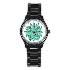 Ornate Mandala Stainless Steel Round Watch by Valentinaart