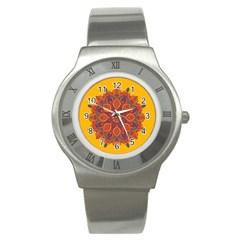 Ornate Mandala Stainless Steel Watch by Valentinaart