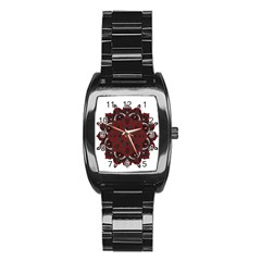 Ornate Mandala Stainless Steel Barrel Watch by Valentinaart