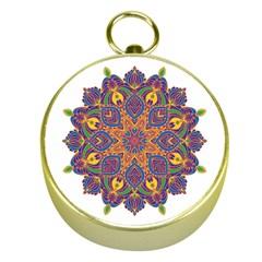 Ornate Mandala Gold Compasses by Valentinaart