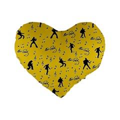 Elvis Presley  Pattern Standard 16  Premium Flano Heart Shape Cushions by Valentinaart