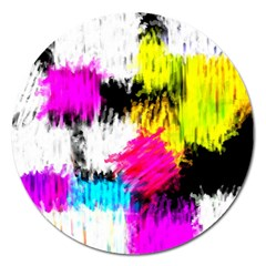 Colorful Blurry Paint Strokes                         Magnet 5  (round) by LalyLauraFLM