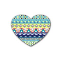 Tribal Print Rubber Coaster (heart)  by BangZart