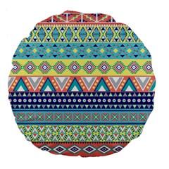 Tribal Print Large 18  Premium Flano Round Cushions by BangZart