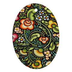 Bohemia Floral Pattern Ornament (oval) by BangZart