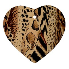 Animal Fabric Patterns Ornament (heart) by BangZart