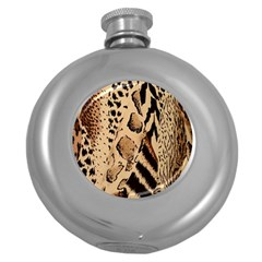 Animal Fabric Patterns Round Hip Flask (5 Oz) by BangZart