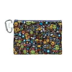 Many Funny Animals Canvas Cosmetic Bag (m) by BangZart