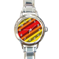 Abstract Bright Stripes Round Italian Charm Watch by BangZart