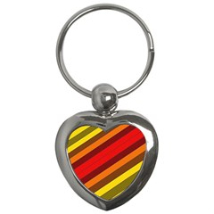 Abstract Bright Stripes Key Chains (heart)  by BangZart