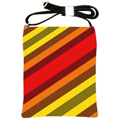 Abstract Bright Stripes Shoulder Sling Bags by BangZart