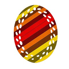 Abstract Bright Stripes Oval Filigree Ornament (two Sides) by BangZart