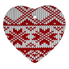Crimson Knitting Pattern Background Vector Ornament (heart) by BangZart