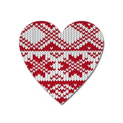 Crimson Knitting Pattern Background Vector Heart Magnet by BangZart