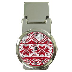 Crimson Knitting Pattern Background Vector Money Clip Watches by BangZart