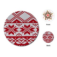 Crimson Knitting Pattern Background Vector Playing Cards (round)  by BangZart