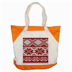 Crimson Knitting Pattern Background Vector Accent Tote Bag by BangZart