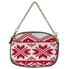 Crimson Knitting Pattern Background Vector Chain Purses (one Side)  by BangZart