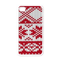 Crimson Knitting Pattern Background Vector Apple Iphone 4 Case (white) by BangZart
