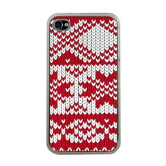 Crimson Knitting Pattern Background Vector Apple Iphone 4 Case (clear) by BangZart